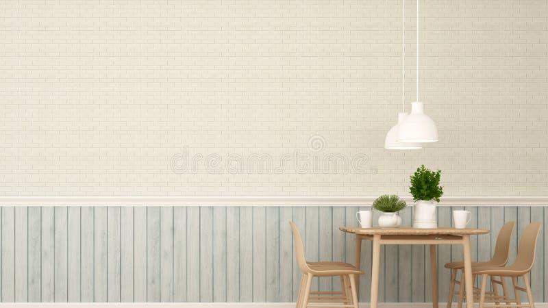 Het dineren gebied in Restaurant of koffiewinkel - het 3D Teruggeven stock illustratie
