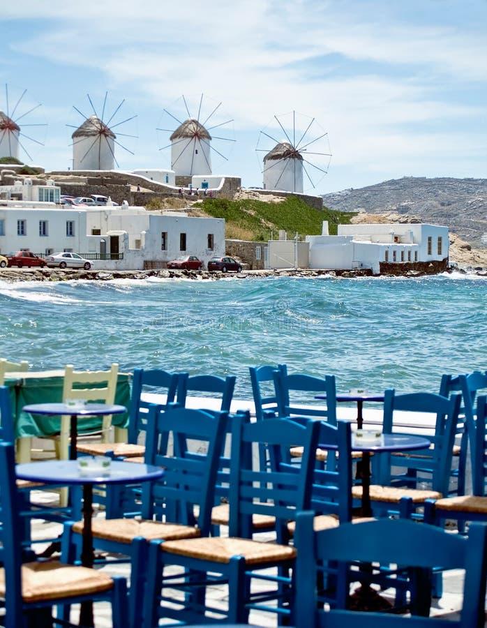 Het dineren in Mykonos stock foto's