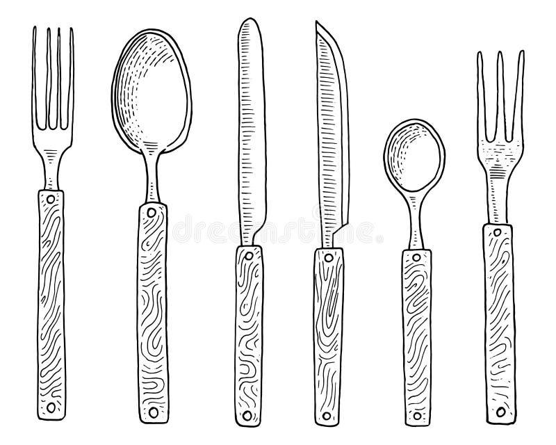 Het dineren of snackvork voor oesters, roomijslepel en mes voor dessert of boter en het bakken keukengerei, het koken vector illustratie