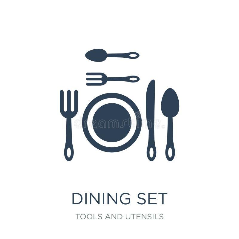 het dineren vastgesteld pictogram in in ontwerpstijl het dineren vastgesteld die pictogram op witte achtergrond wordt geïsoleerd  vector illustratie