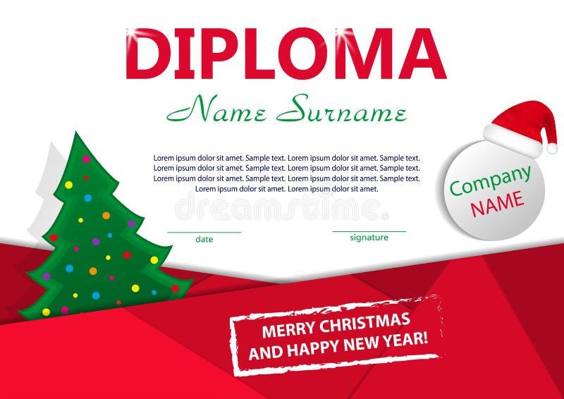 Het diploma of het certificaat van het Kerstmismalplaatje Nieuwe jaarbeloning met Kerstboom en Kerstmanhoed Vector vector illustratie