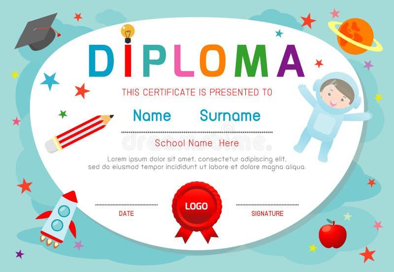 Het diploma van certificaatjonge geitjes, vector de lay-out de ruimte van het van het achtergrond kleuterschoolmalplaatje kaderon royalty-vrije illustratie