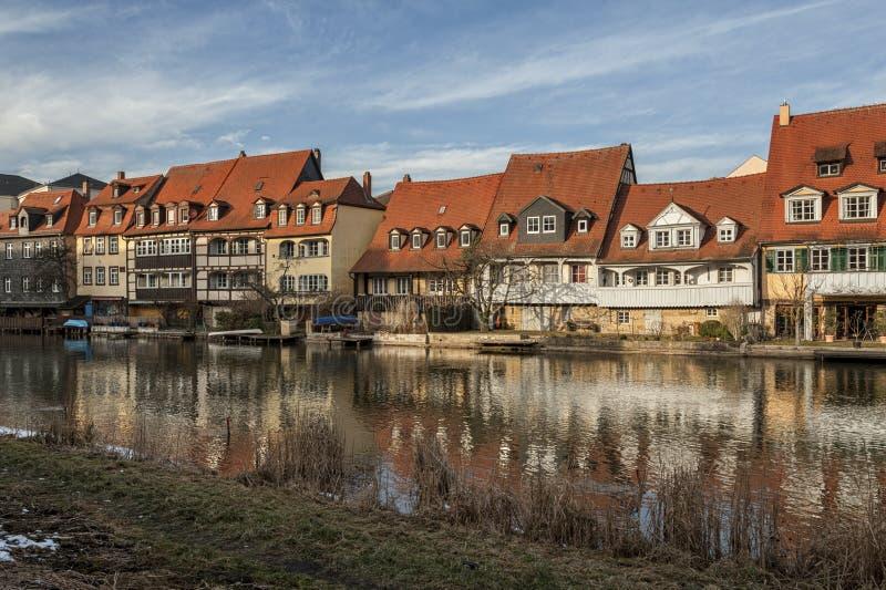 Het district van de vroegere vissers in het Eilandstad van Bamberg is genoemd geworden Weinig Venetië Kleinvenedig Bamberg stock afbeelding
