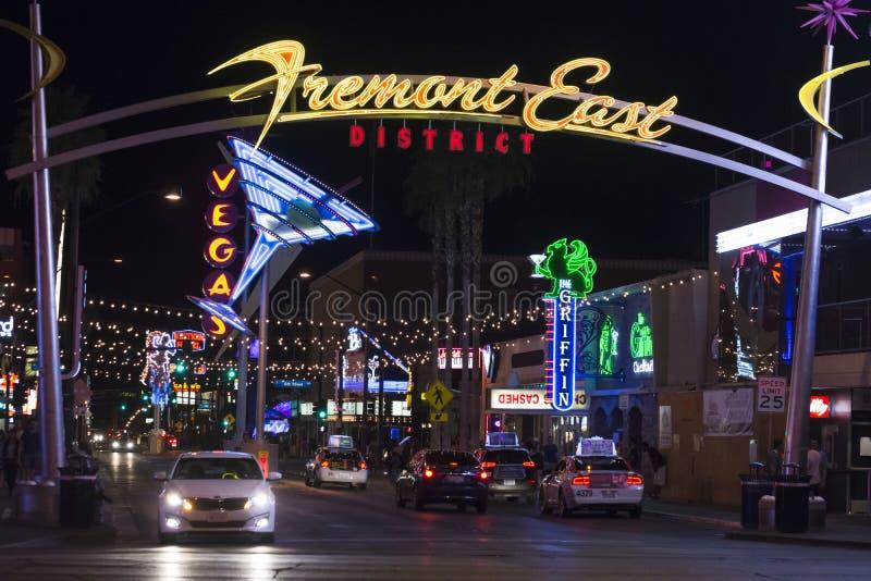 Het district van het Fremontoosten in Las Vegas stock foto