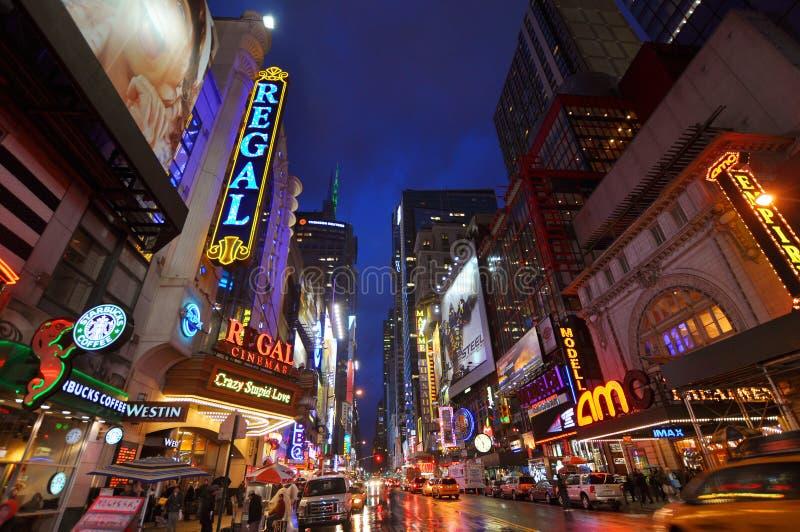 Het District van het theater, de Stad van Manhattan, New York stock foto's