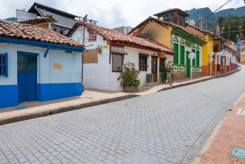 Het districts kleurrijke historische gebouwen van La Candelaria van Bogota royalty-vrije stock fotografie