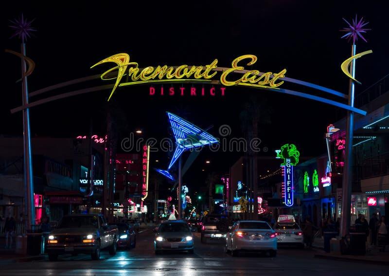 Het Districtsingang en Lichten van het Fremontoosten stock foto's