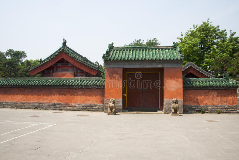 Het ditan park van Azië, China, Peking, Landschap architectureï ¼ Œ gatehouse stock foto's