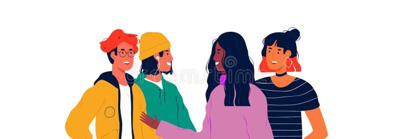 Het diverse gelukkige concept van het de groepsportret van tienermensen royalty-vrije illustratie