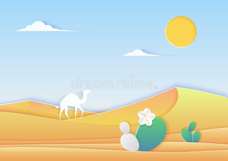 Het in document cuted het landschap van de stijlwoestijn met kameel en cactus vectorillustratie royalty-vrije illustratie