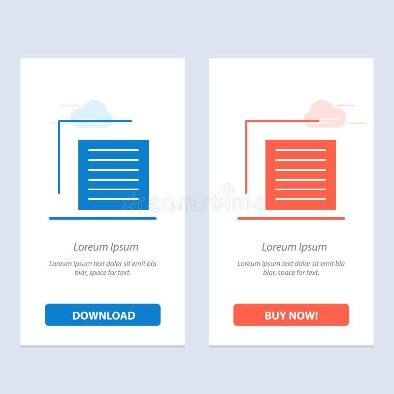 Het document, Dossier, Gebruiker, zet Blauwe en Rode Download om en koopt nu de Kaartmalplaatje van Webwidget royalty-vrije illustratie