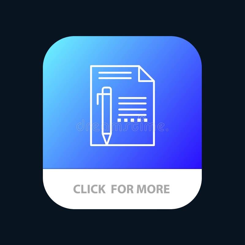 Het document, geeft, Pagina, Document, Potlood, schrijft Mobiele toepassingknoop uit Android en IOS Lijnversie stock illustratie