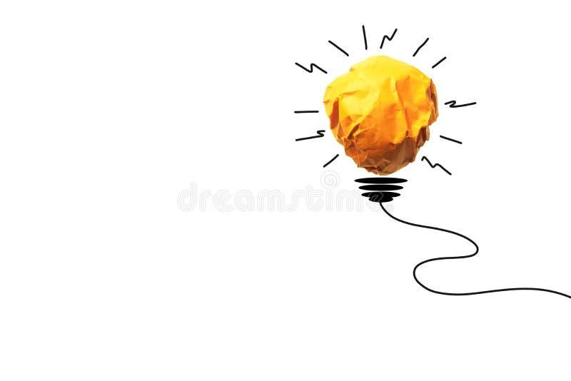 Het document maakt aan gloeilamp voor de energieconcept van de ideemacht op wit stock illustratie