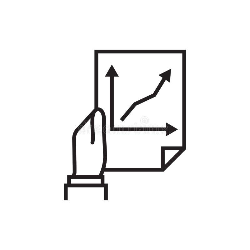 Het document met bedrijfsgrafieken houdt in hand zakenman stock illustratie