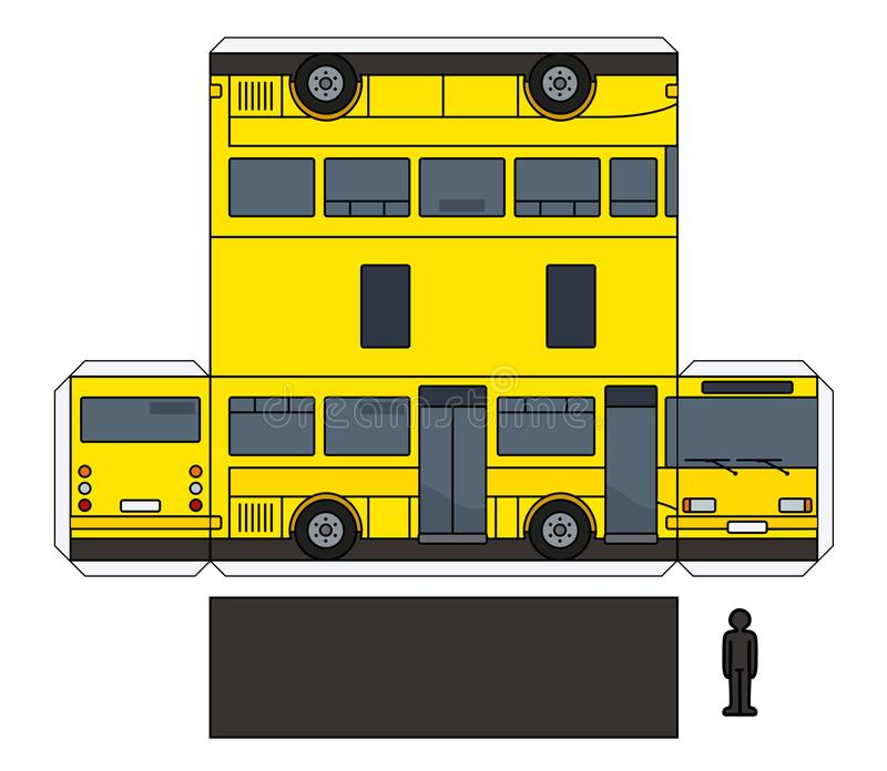 Het document model van een gele kleine bus stock illustratie