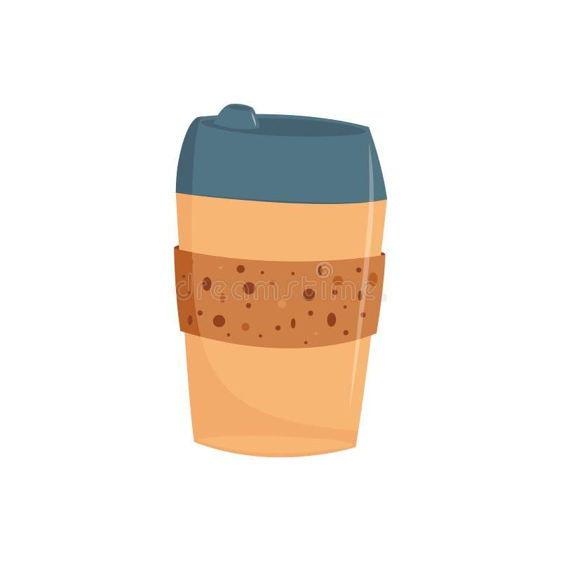 Het document of het plastiek haalt kop van koffie met GLB in vlakke stijl weg stock illustratie