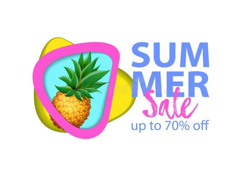 Het document sneed de banner van de lay-outverkoop met realistische Ananas, Watermeloen en Banaanvruchten vector illustratie