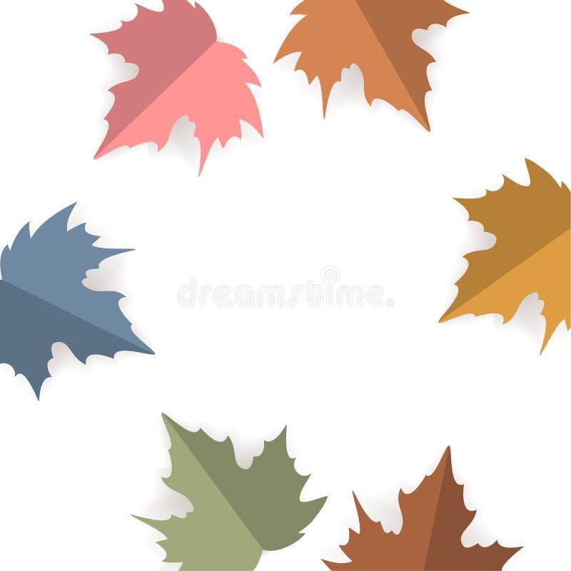 Het document sneed de bladeren van de stijlesdoorn over witte achtergrond, vector van de de dankzeggings de vierkante textuur van vector illustratie