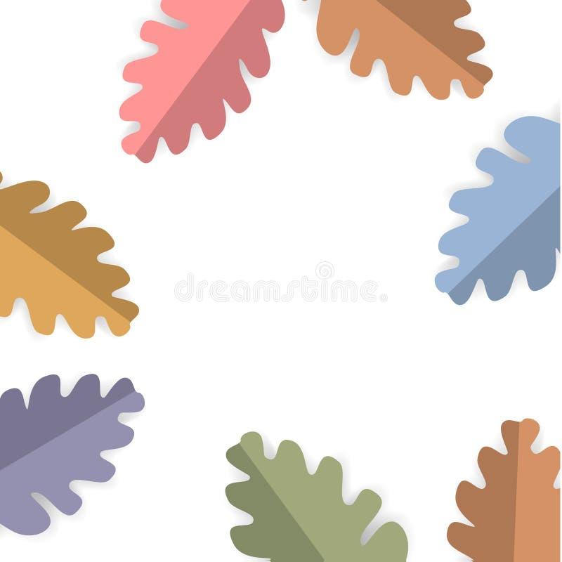 Het document sneed de bladeren vierkante achtergrond van de stijlpastelkleur gekleurde eiken boom stock illustratie