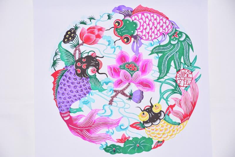 Het document sneed drie vissen en lotusbloem vector illustratie