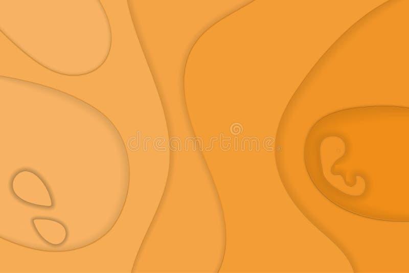 Het document sneed gele achtergrond Overgang van licht naar dark Illustratie vector illustratie