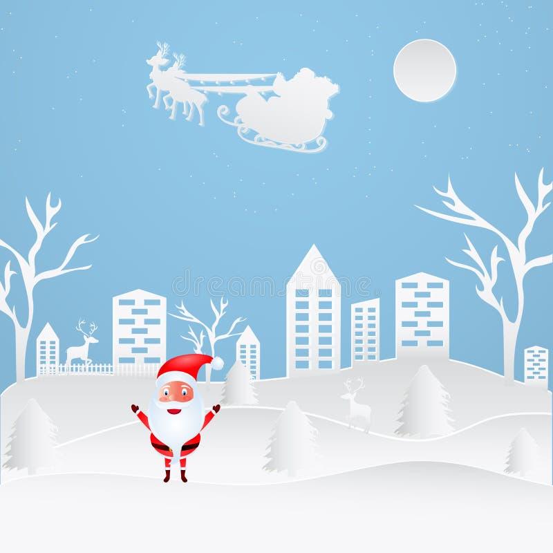 Het document sneed het landschap van de stijlstad met de leuke Kerstman op blauwe bedelaars stock illustratie