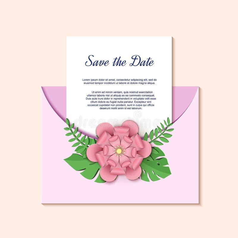 Het document sneed ontwerp met roze bloem en groene bladerensamenstelling op envelop Fantasie bloemendocument ambachtdecoratie royalty-vrije illustratie