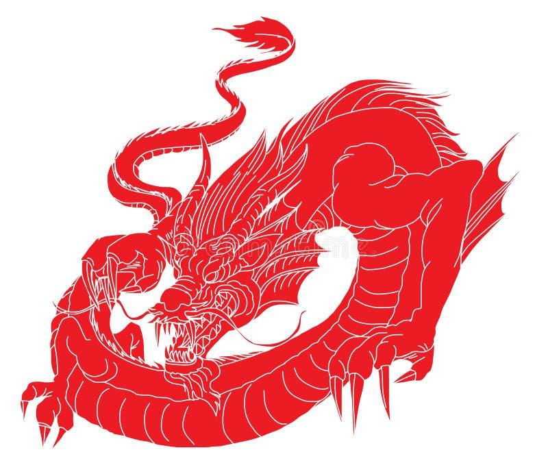 Het document sneed Rode stammendraaktatoegering Japanse oude draak voor tatoegering Traditionele Aziatische tatoegering de oude d vector illustratie