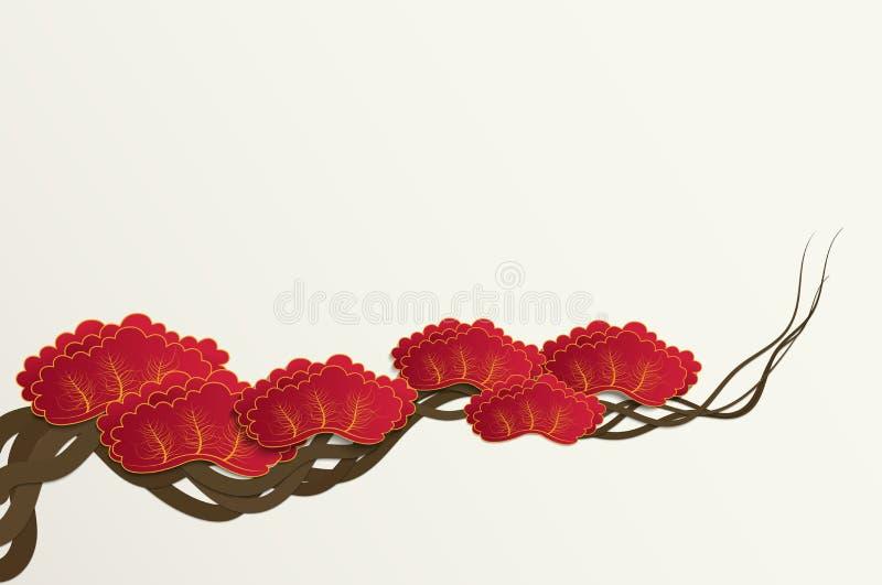 Het document sneed stijl van de achtergrond van de de boomtak van de pruimbloesem voor Chinese of Japanse ontwerp vectorillustrat stock illustratie