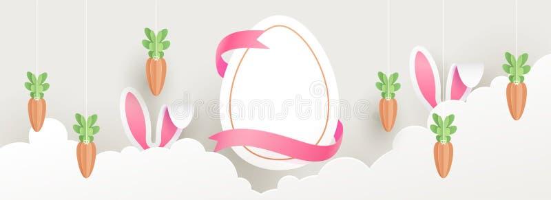 Het document sneed van de kopbalbanner of affiche ontwerp met illustratie van paasei, konijntjesoren en wortel op de achtergrond  royalty-vrije illustratie