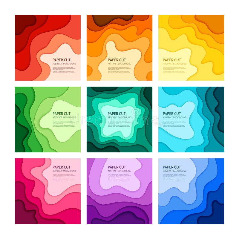 Het document sneed vector abstracte reeks als achtergrond stock illustratie
