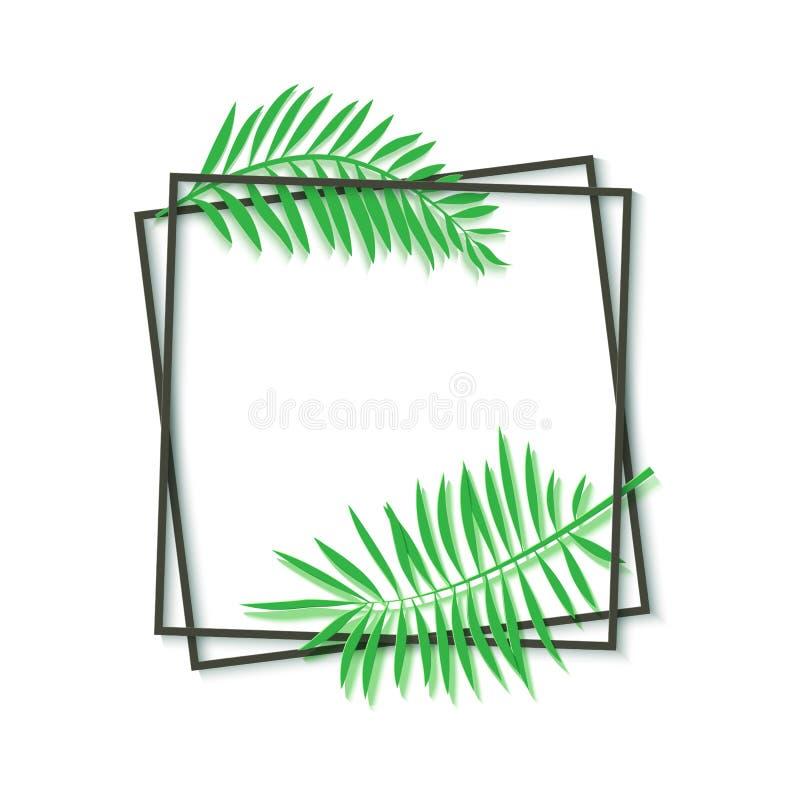 Het document sneed zwart kader met tropische bladeren Twee donkere geneigde vierkante kaders liggen op een andere Vectorkaartillu royalty-vrije illustratie