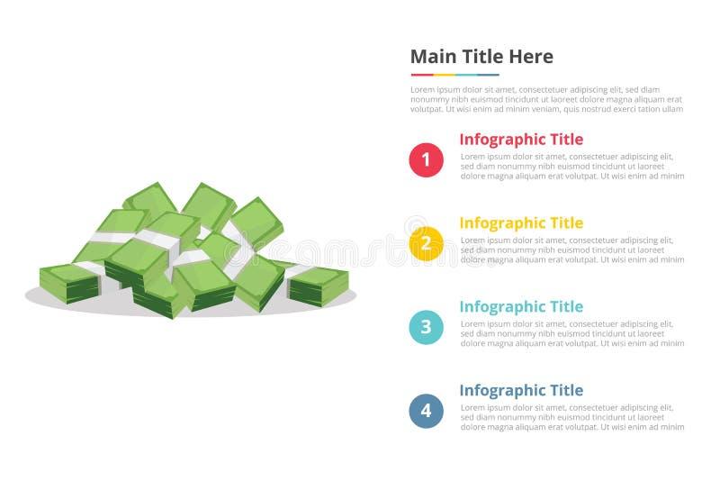 Het document van het contant geldgeld infographicsmalplaatje met 4 punten van de beschrijving van de beschikbare ruimtetekst - ve vector illustratie