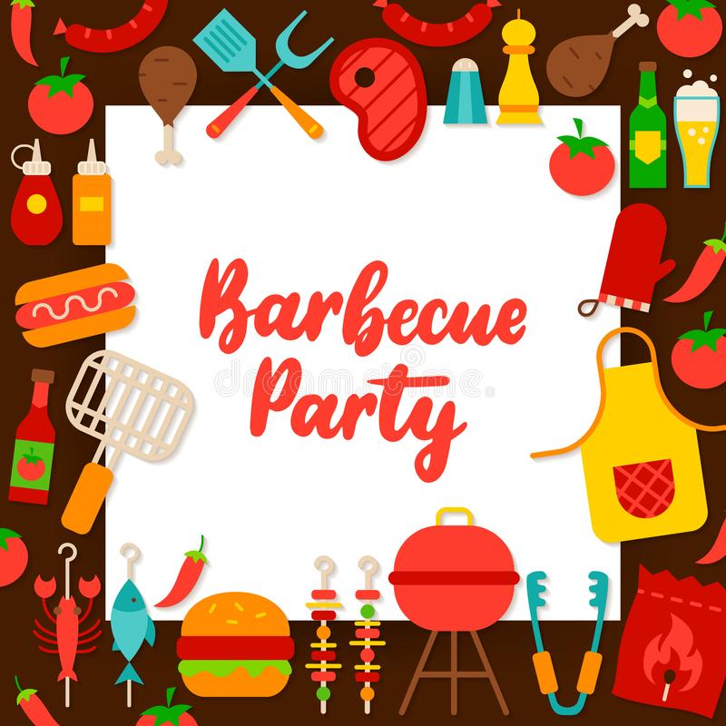 Het Document van de barbecuepartij Concept vector illustratie