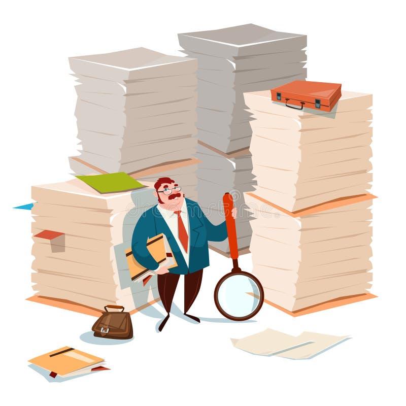 Het Document van de bedrijfsmensengreep het Vergrootglas Gestapelde Onderzoek van de Documentadministratie stock illustratie