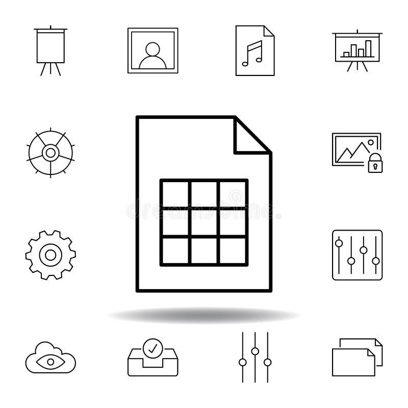 Het document van de documentpagina overzichtspictogram Gedetailleerde reeks unigridillustratiespictogrammen van verschillende med vector illustratie
