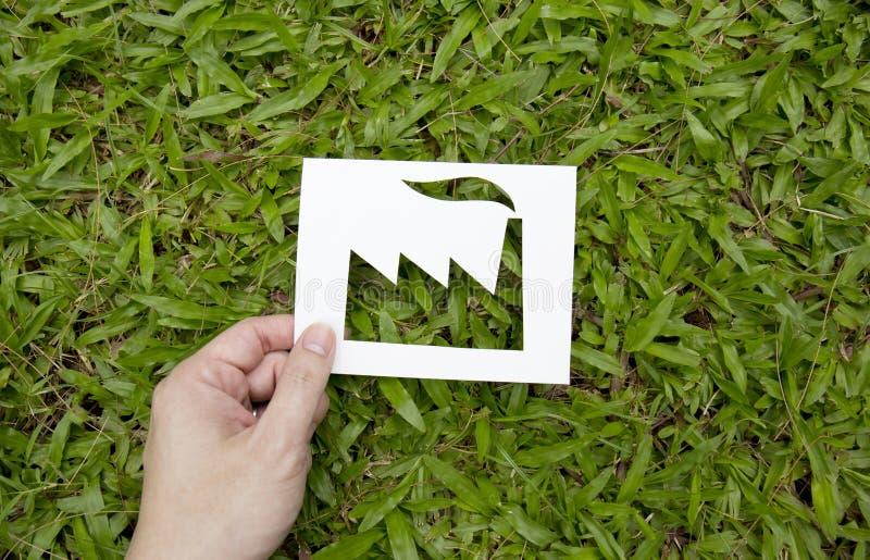Het document van de handholding in fabrieksvorm wordt gesneden op groen gras dat royalty-vrije stock foto
