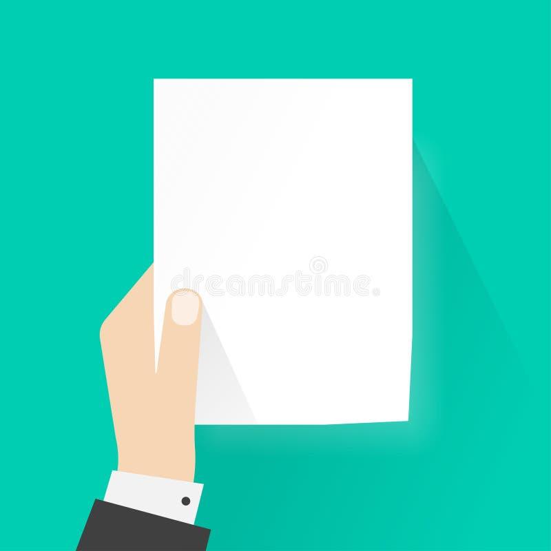 Het document van de handholding model lege vectorillustratie, a4 leeg blad royalty-vrije illustratie