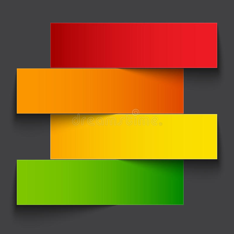 Het document van de Infographicsregenboog streepbanners met vector illustratie