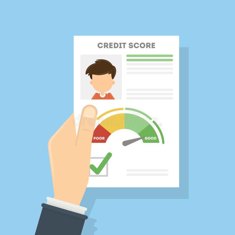 Het document van de kredietscore stock illustratie