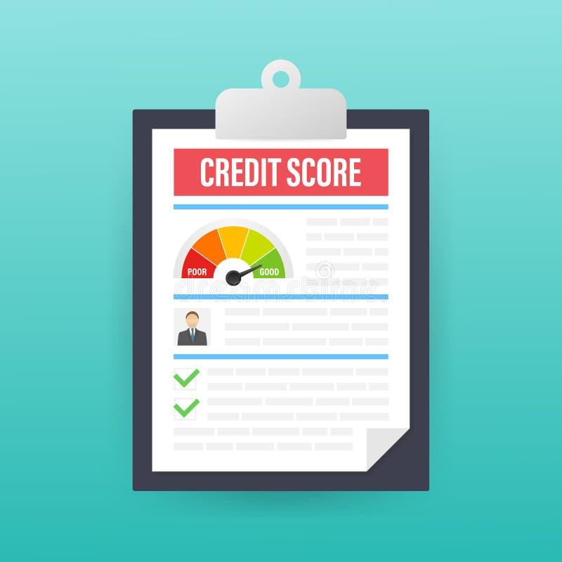 Het document van de kredietscore Document bladgrafiek van de persoonlijke informatie van de kredietscore Vector voorraadillustrat royalty-vrije illustratie