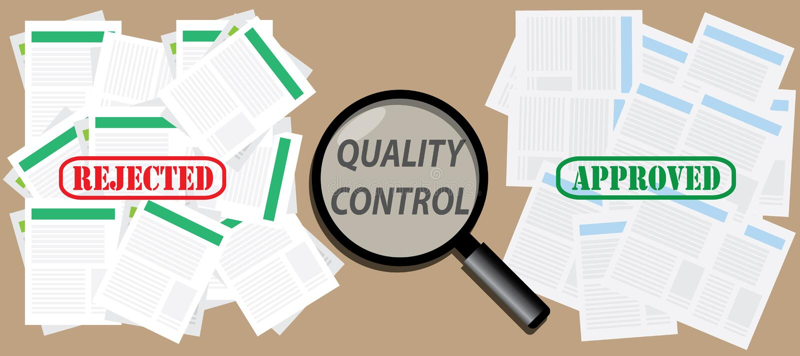 Het document van de kwaliteitscontrolecontrole met goedgekeurde en verworpen zegels royalty-vrije illustratie