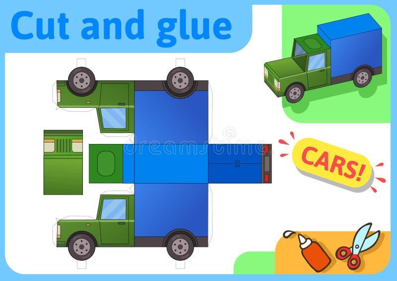 Het document van de ladingsvrachtwagen model Het kleine project van de huisambacht, document spel Verwijderd, vouwen en lijm Knip vector illustratie