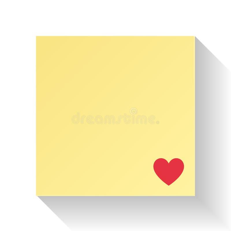 Het document van de liefdebrief met rood hart illustratievector Valentijnskaartendag en huwelijksconcept Nota en Berichtthema Sam vector illustratie