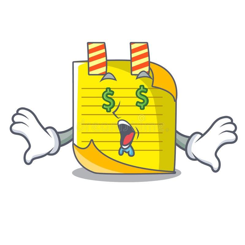Het document van de de mascottenota van het geldoog met referentie stock illustratie