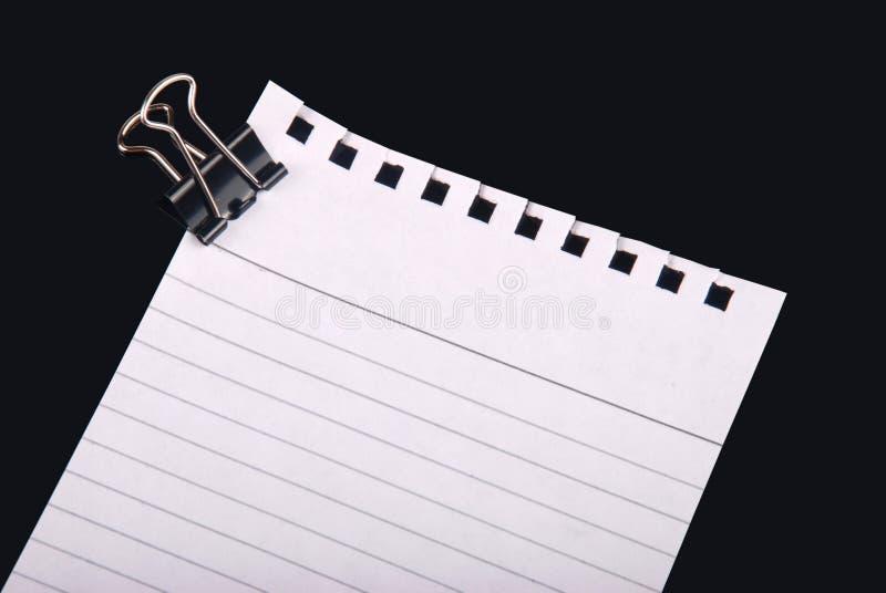 Het document van de nota met klem royalty-vrije stock afbeelding