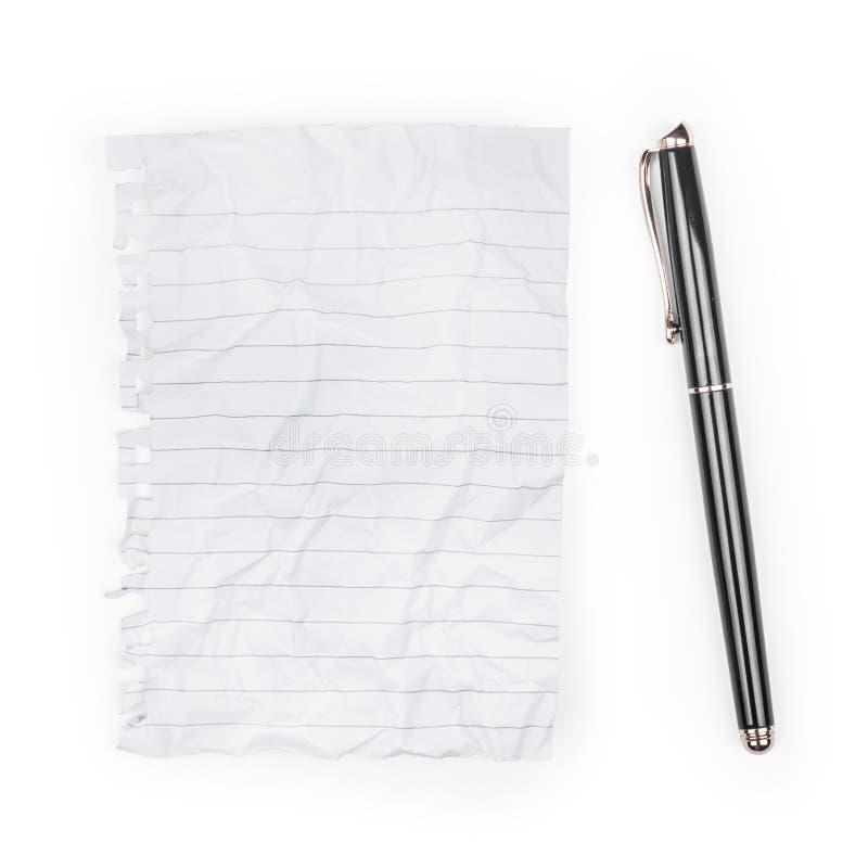 Het document van de nota met pen stock foto