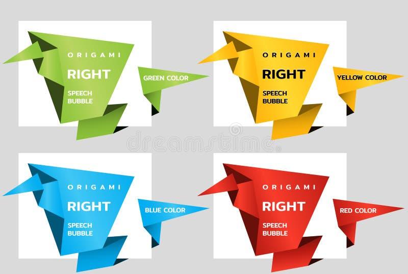 Het document van de origamihoek banners zoals toespraakbel Prijskaartjemalplaatje voor catalogus Kleurenstickers Vector stock illustratie