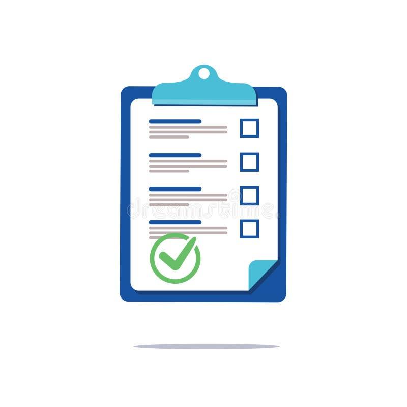 Het document van de Prenuptialovereenkomst, het concept van de het klembordsociologie van de controlelijst, vragenlijstvorm, vect stock illustratie