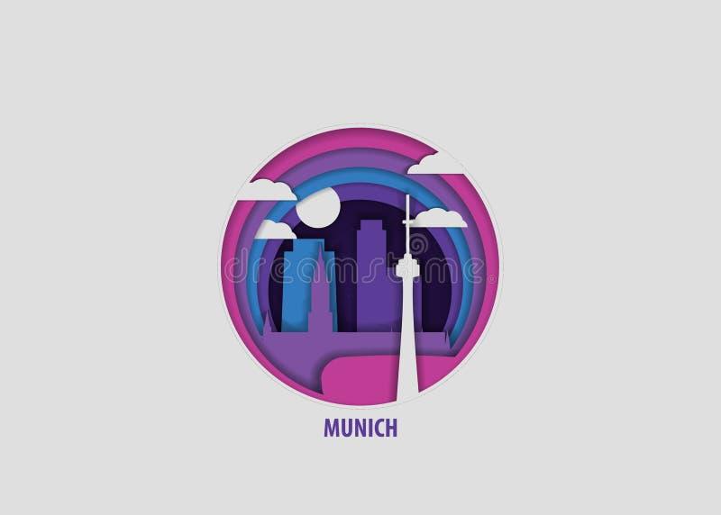 Het document van de de stadsorigami van München vector geïsoleerde illustratie royalty-vrije illustratie